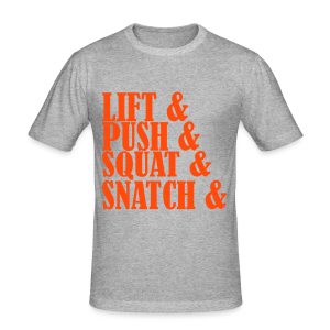 Lift, Push, Squat, Snatch - Männer Slim Fit T-Shirt