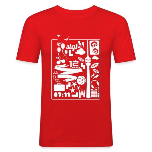 0711 A DAY IN STGT - Männer Slim Fit T-Shirt