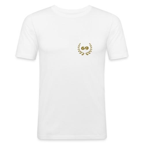weisses Slim Fit-Shirt Lorbeerkranz 69 gold farbener Druck - Männer Slim Fit T-Shirt