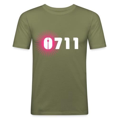MÄNNER-SHIRT NEON-PINK WEISS - Männer Slim Fit T-Shirt