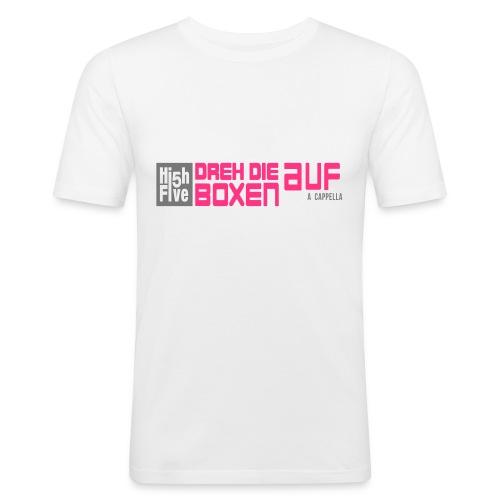 """brandneues T-Shirt """"Dreh die Boxen auf"""" (w) weiß/rosa/grau - Männer Slim Fit T-Shirt"""