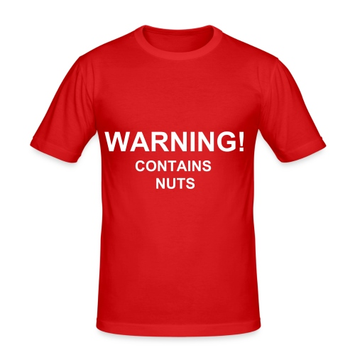 Mens 'Warning! Contains nuts' slim fit T-shirt - Men's Slim Fit T-Shirt