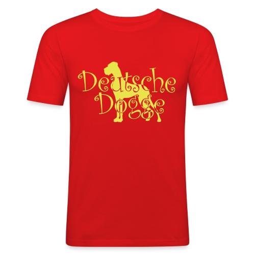 Männer Slim Fit T-Shirt - Doggenstatur,Doggensilhouette,Doggenshirt,Doggenhaus,Doggenfigur,Dogge