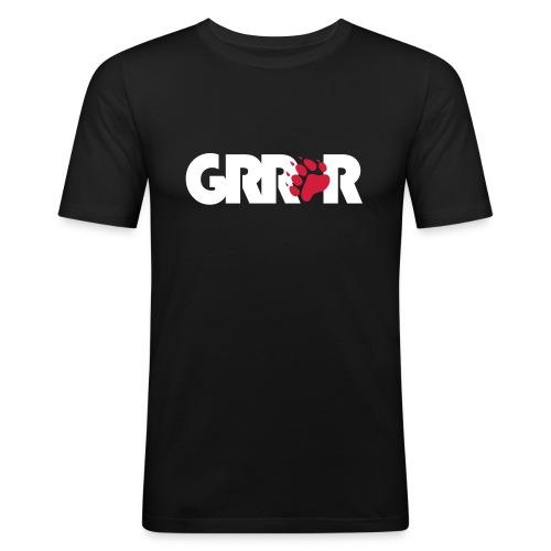 GRRR - White/Red - Men's Slim Fit T-Shirt