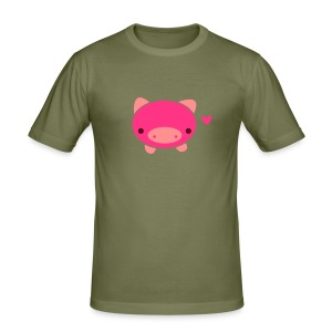Piggie T-Shirt Brown - Men's Slim Fit T-Shirt