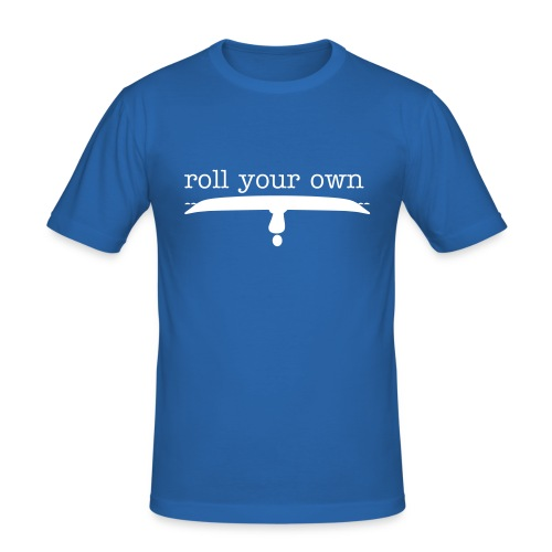 Men's Slim Fit T-Shirt - Demonstrate your independence and rolling prowess with your own upside down kayaker 'rolling his own'