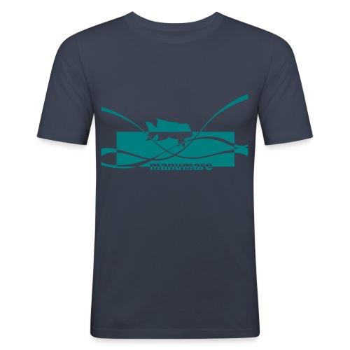 manumare Männer Slim Fit T-Shirt Fisch-Schwarm - Männer Slim Fit T-Shirt