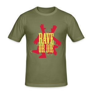 Rave or Die t-shirt with the Fantazia Dancing man - Men's Slim Fit T-Shirt