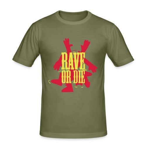 Rave or Die t-shirt with the Fantazia Dancing man - Men's Slim Fit T-Shirt