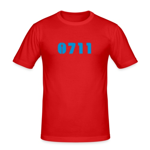 MÄNNER-SHIRT ROT HELLBLAU - Männer Slim Fit T-Shirt