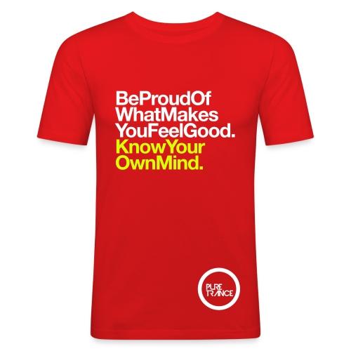 Be Proud. [Male] White/ Neon Yellow - Men's Slim Fit T-Shirt