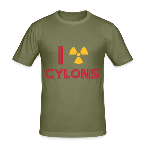 Nuke Cylons, Racetrack's logo back - Men's Slim Fit T-Shirt