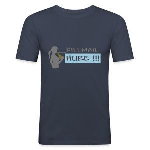 Killmail Hure, grau-gold-himmelblau - Männer Slim Fit T-Shirt