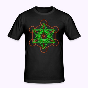 Metatron Cube 2-Color Men's Slim Fit Shirt - slim fit T-shirt