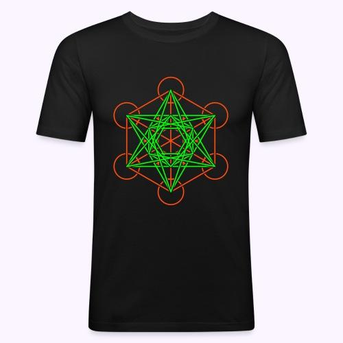 Metatron Cube 2-Color Men's Slim Fit Shirt - T-shirt près du corps Homme