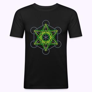 Metatron Cube 3-Color Men's Slim Fit Shirt - slim fit T-shirt