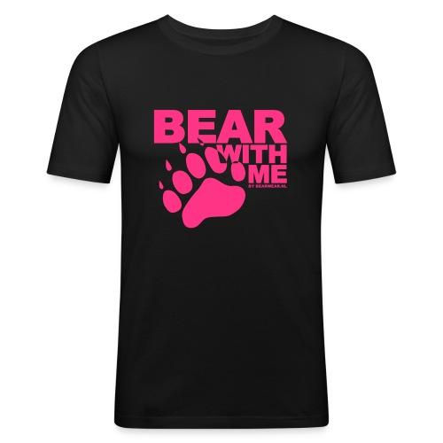 Bear With Me  (Pink on Black) - Men's Slim Fit T-Shirt