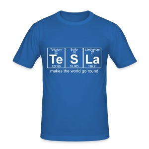 Te-S-La (tesla) makes the world go round - Men's Slim Fit T-Shirt