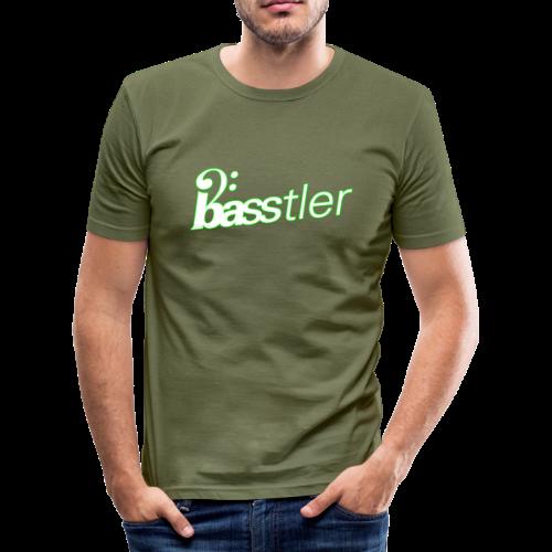 BASSTLER (Neon-Grün / Weiß) - Männer Slim Fit T-Shirt