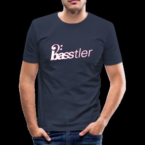 BASSTLER (Neon-Pink / Weiß) - Männer Slim Fit T-Shirt