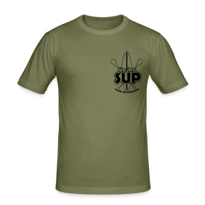 Männer Slim-Fit Shirt: Live, Love, SUP (umrandet, schwarzes Motiv) - Men's Slim Fit T-Shirt