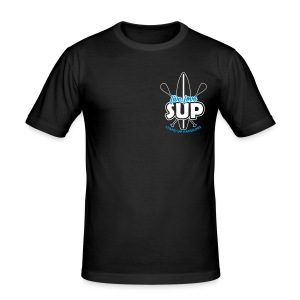 """Steffens"" Slim-Fit-Shirt: Live, Love, SUP (Front) & SUP TV (back) blau-weißes Motiv, umrandet) - Men's Slim Fit T-Shirt"