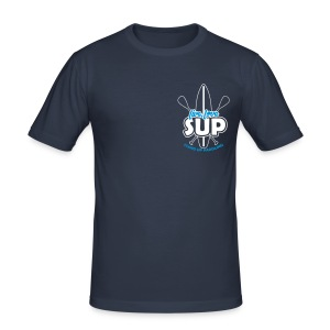 Männer Slim-Fit-Shirt: Live, Love, SUP (weiß-blaues Motiv, umrandet) - Men's Slim Fit T-Shirt