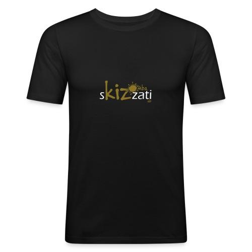 T-Shirt attillata uomo cotone sKizzati oro - Maglietta aderente da uomo