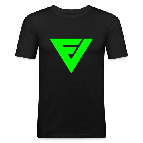 Premium slimfit symbolilla (neon vihreä), painatus niskassa myös. - Miesten tyköistuva t-paita