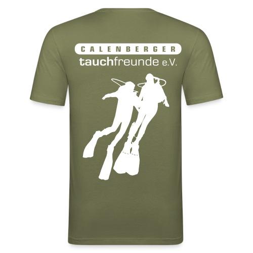 Herren Slim Fir Shirt mit deinem Namen und dem Logo der Calenberger Tauchfreunde - Männer Slim Fit T-Shirt