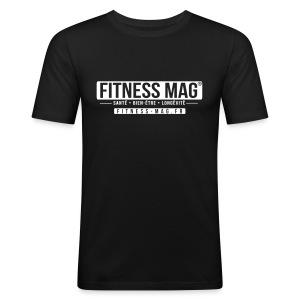 Tee shirt moulant Fitness Mag Official black 100% coton - Tee shirt près du corps Homme