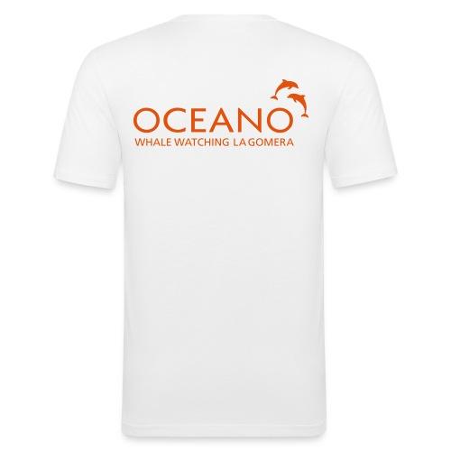 OCEANO Männer Shirt Motiv Streifendelfin - Männer Slim Fit T-Shirt