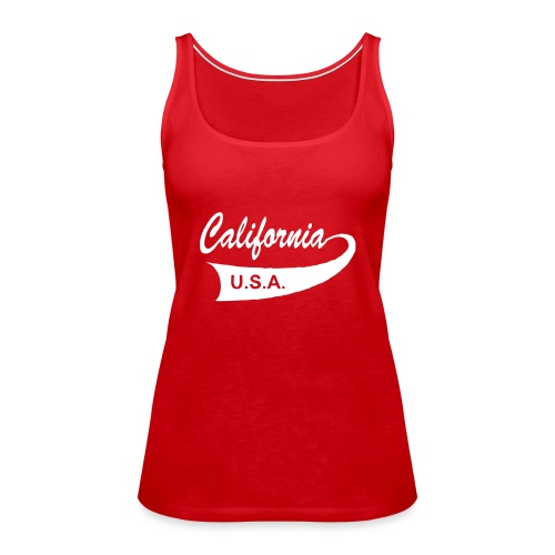 "Spaghetti-Top ""CALIFORNIA USA"" rot - Frauen Premium Tank Top"