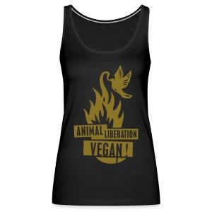 Womens Tank-Top 'animal liberation vegan' GOLD - Frauen Premium Tank Top