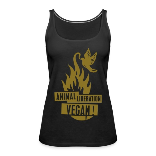 Womens Tank-Top 'animal liberation vegan' GOLD - Frauen Premium Tank Top