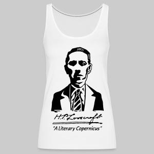 FTT1: H.P. Lovecraft Portrait - A Literary Copernicus (monochrome) - Women's Premium Tank Top