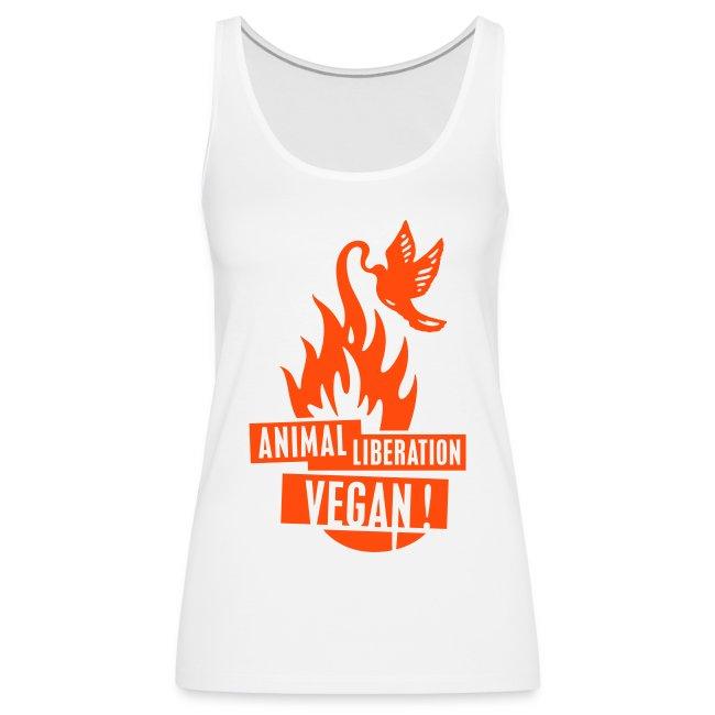 Womens Tank-Top 'animal liberation vegan' NeoOrange