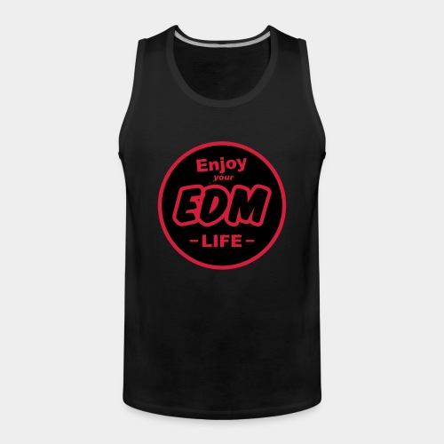 """Enjoy EDM"" Black/Cool Red Tee Men - Men's Premium Tank Top"