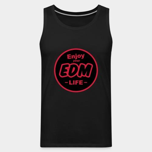 """""""Enjoy EDM"""" Black/Cool Red Tee Men - Men's Premium Tank Top"""