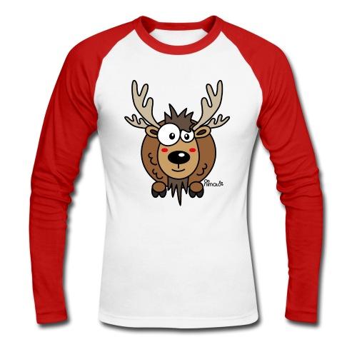 T-shirt ml Baseball Homme, Caribou, Renne, Noël - T-shirt baseball manches longues Homme