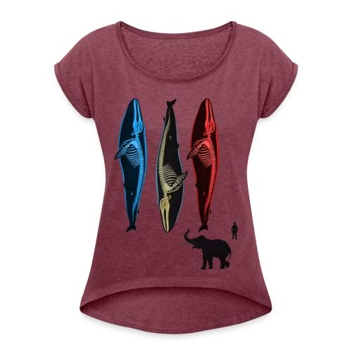 Wal - Frauen T-Shirt mit gerollten Ärmeln