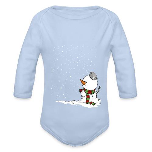 Schneemann im Schnee. - Baby Bio-Langarm-Body