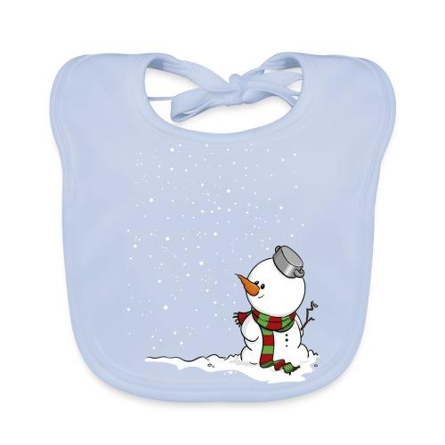 Schneemann im Schnee. - Baby Bio-Lätzchen
