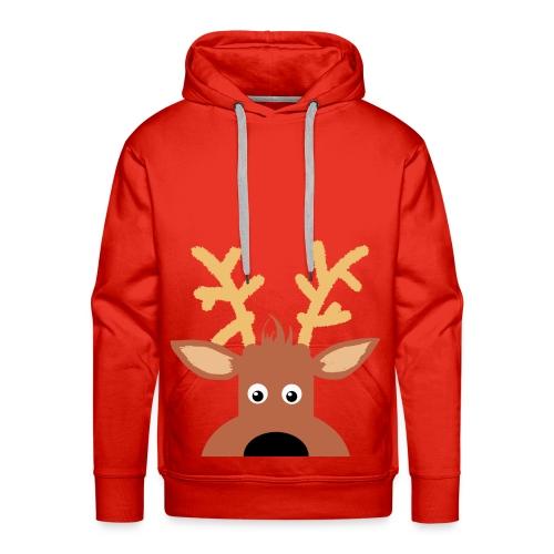 Peek A Boo Reindeer Hoodie - Red - Men's Premium Hoodie