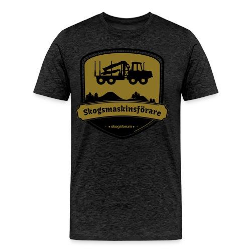 Skogsmaskinsförare, emblem, guld - Premium-T-shirt herr