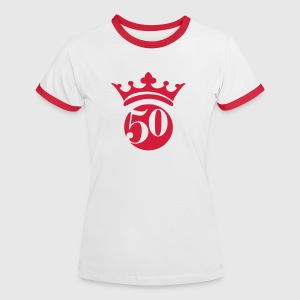 Wit/rood 50 T-shirts - Vrouwen contrastshirt