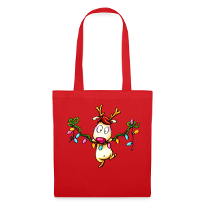 cloth bag reindeer on a chain of lights - Stoffbeutel
