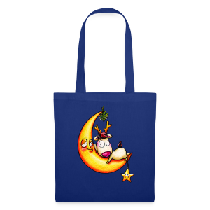 cloth bag reindeer on the moon - Stoffbeutel