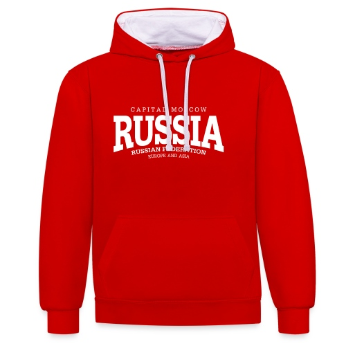 Russia (white) - Kontrast-Hoodie