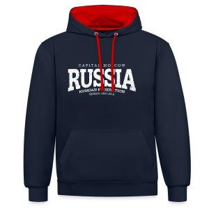 Russia (white oldstyle) - Kontrast-Hoodie